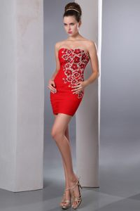 Floral Beading Sweetheart Ruched Red Chiffon Evening Cocktail Dress