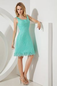 Square Neck Delicate Lace Turquoise Rennes France Cocktail Dresses