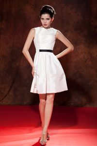 Bateau Neck Black Sash Mini-length White Taffeta Cocktail Party Dress