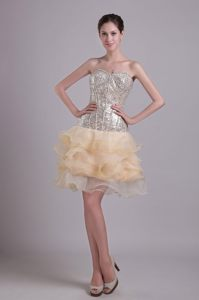 Sequin Sweetheart Ruffled Layers Champagne Cocktail Dresses in Lyon