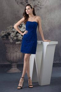 North Carolina Strapless Ruches Mini-length Blue Cocktail Dress