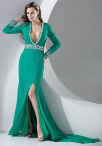 High Slit Sexy Plunging V-neck Beading Turquoise Cocktail Dress
