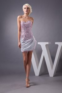 Colorful Sequin and Beading Sweetheart Strapless Cocktail Dress