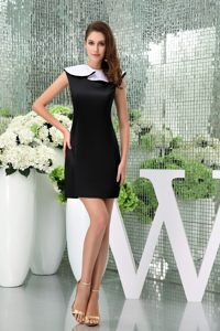 New Jersey Flounced Bateau Neck Black Mini-length Cocktail Dress