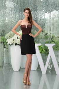 Nebraska Cut Out Straps Black and Brown Slot Neck Cocktail Dress