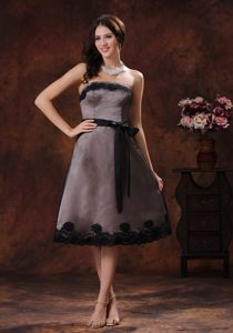 Connecticut Tea-length Strapless Sash Chocolate Cocktail Dress