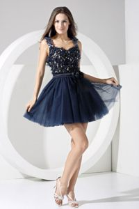 Navy Blue Lace A-line Straps Backless Cocktail Dress Mini-length
