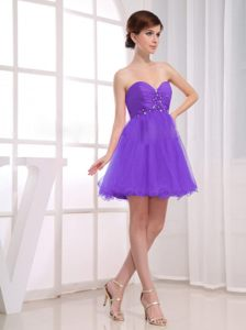 Delaware Beading Ruches A-Line Purple Sweetheart Cocktail Dress