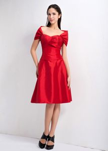 Massachusetts Red A-line Off the shoulder Ruches Cocktail Dress