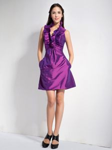 Purple A-line Halter Mini-length Cocktail Dress in New Hampshise