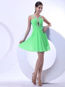 New York Spring Green Beaded Cocktail Dress V-neck Mini-length