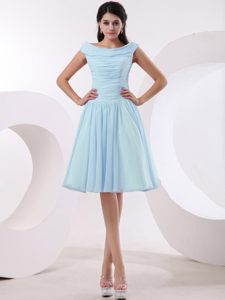 Bateau Baby Blue Ruched A-line Cocktail Dress in Massachusetts