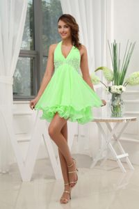 Appliques Halter Spring Green Cocktail Dress in North Carolina
