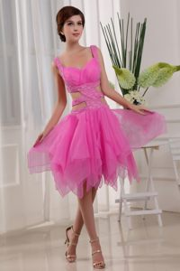 Nevada Hot Pink A-Line Straps Beading Knee-length Cocktail Dress