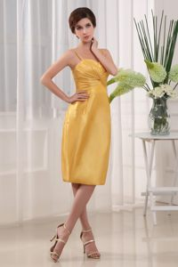 Yellow Column Straps Ruches Cocktail Dress Knee-length in Kansas