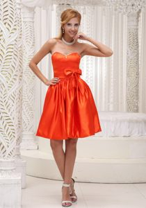 Rhode Sweetheart Orange Red Bowknot and Beading Cocktail Dress