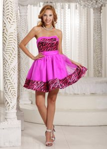 Oregon Zebra Sweetheart A-line Mini-length Pink Cocktail Dress