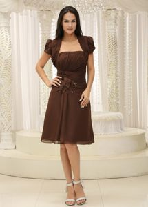 Hand Made Flowers Strapless Ruches Brown Cocktail Dress in Ohio