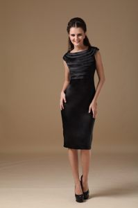 North Dakota Black Column Scoop Ruches Cocktail Dress Knee-length