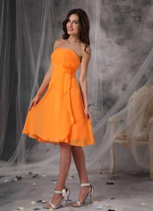 Flowers Orange Strapless Empire Cocktail Dress in New Hampshise