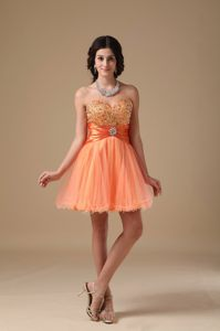 Orange Red Sweetheart Beading A-line Cocktail Dress Mini-length