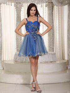 Oklahoma Mini-length A-line Straps Appliques Blue Cocktail Dress