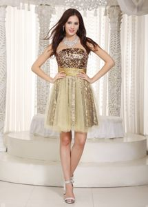 Strapless Champagne A-line Leopard Cocktail Dress in Washington