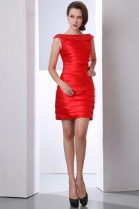 Mini-length Column Bateau Beading Red Cocktail Dress in Oregon