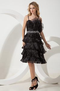 A-line Straps Beading and Ruffled Layers Cocktail Dress in Black