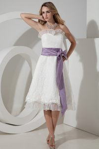 A-line Sash Strapless Lace White Cocktail Dress in Pennsylvania