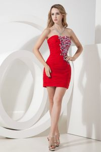 Strapless Column Beading Red Cocktail Dress Mini-length in Nevada