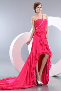 Beading and Ruches Hot Pink One Shoulder Cocktail Dress High-low