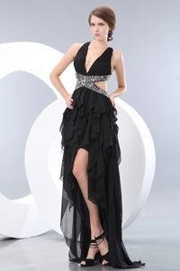 Vermont Sexy Black Empire Beading V-neck High-low Cocktail Dress