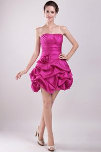 Hand Made Flower Hot Pink Strapless Cocktail Dress Mini-length