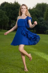 North Carolina One Shoulder Mini-length Cocktail Dress in Blue