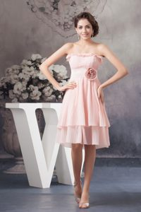 Strapless Pleated Flower Chiffon Pink Cocktail Dress in Kentucky