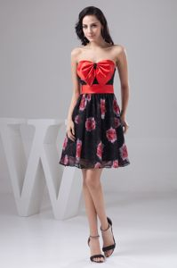 Black and Red Print Strapless Cocktail Gown with Bowknot in Idaho