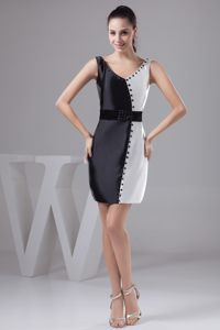 Sash and Beading V-neck Black and White Cocktail Dress in Montana