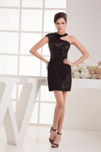 Black Sequin Mini Asymmetrical Neckline Cocktail Dress in Alaska