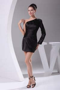 California One Shoulder Long Sleeve Beaded Black Cocktail Dress