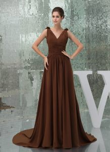 V-neck Ruches and Flowers Brown Cocktail Dress in North Carolina