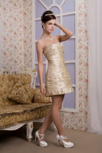 Champagne Strapless Mini-length Cocktail Dress with Beading and Ruches