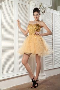 Sweetheart Champagne A-line Cocktail Dress with Sequins Mini-length