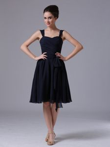 California Ruched A-Line Navy Blue Straps Chiffon Cocktail Dress